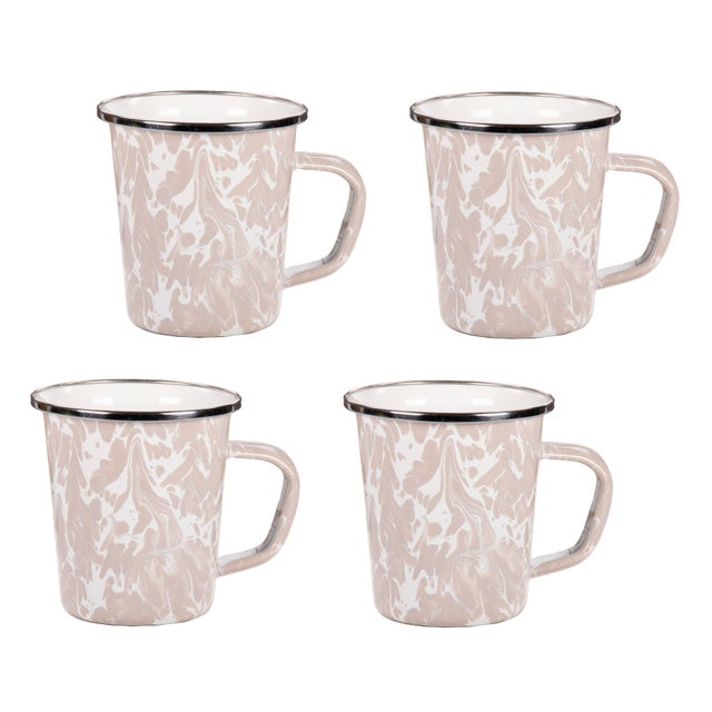 Modern Latte Mugs Taupe Swirl - Set of 4 For Sale - Image 3 of 3