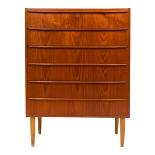 1960s Vintage Danish Mid-Century Tallboy Dresser For Sale