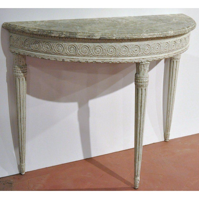 High-End 19th Century Louis XVI Carved Painted Demilune Console ...