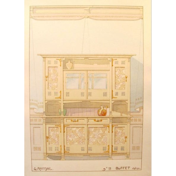 Vintage French Decorator Sheet Interior/Buffet - Image 2 of 3