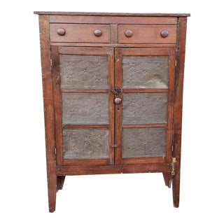 Antique Pine 19th Century Primitive Pie Safe Jelly Cupboard Cabinet For Sale