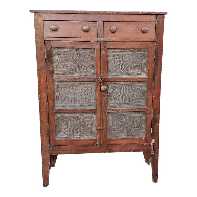 Antique Pine 19th Century Primitive Pie Safe Jelly Cupboard Cabinet For Sale - Antique Pine 19th Century Primitive Pie Safe Jelly Cupboard Cabinet
