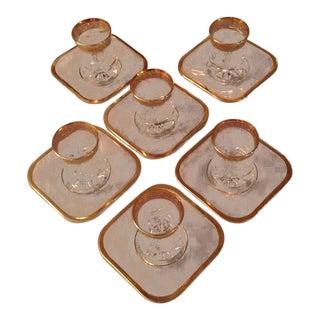 Vintage Turkish Tea Glasses and Saucers - Set of 6 For Sale