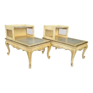 Vintage French Country Leather Top End Tables - a Pair ~ Hand Painted Floral