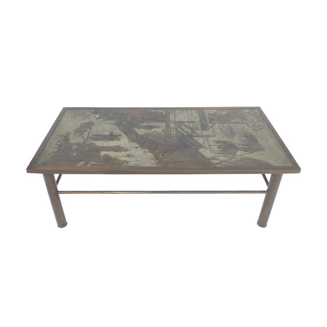 Art Deco Philip & Kelvin Laverne Etched Bronze Coffee Table For Sale - Image 3 of 11