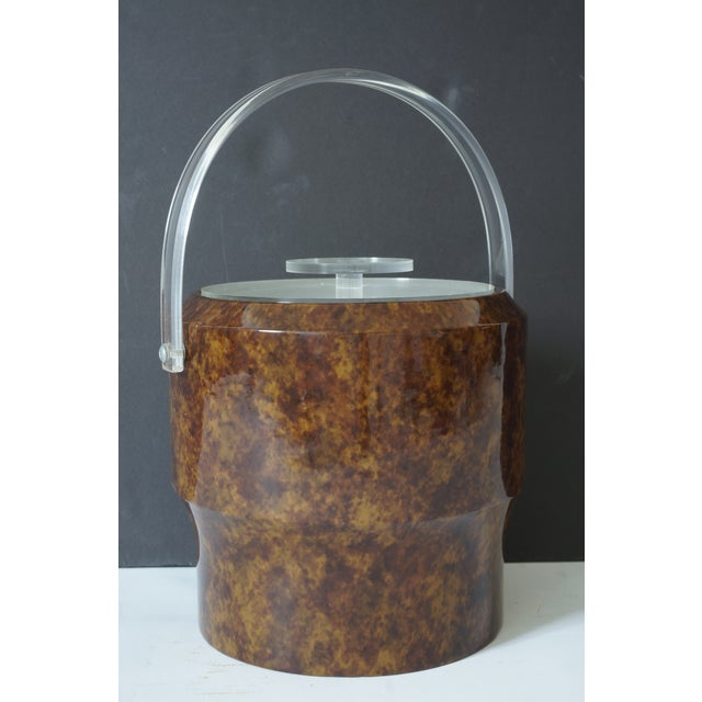 Vintage Saks 5th Ave Nyc Ice Bucket - Faux Tortoise Shell and Lucite For Sale - Image 9 of 10