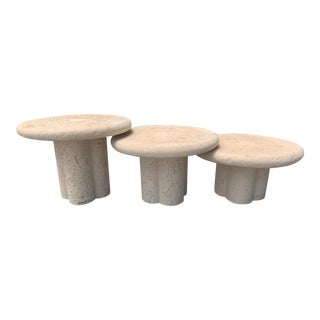 Vintage Cylindrical Travertine Nesting Tables - Set of 3 For Sale