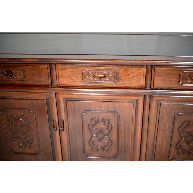 Wood Vintage Rosewood Effect Chinoiserie Credenza Server Cabinet For Sale - Image 7 of 13