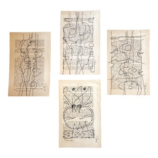 Gallery Wall Collection-Set of 4 Contemporary Wayne Cunningham Abstract Ink Drawings on Vintage Book Pages For Sale