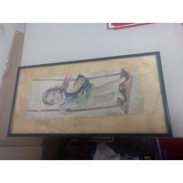 "Farmhouse 1960s ""Big Eyes Girl"" Lithograph For Sale - Image 3 of 5"