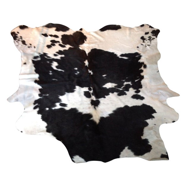 Black and White Natural Cowhide Rug - 6' x 7' - Image 1 of 3