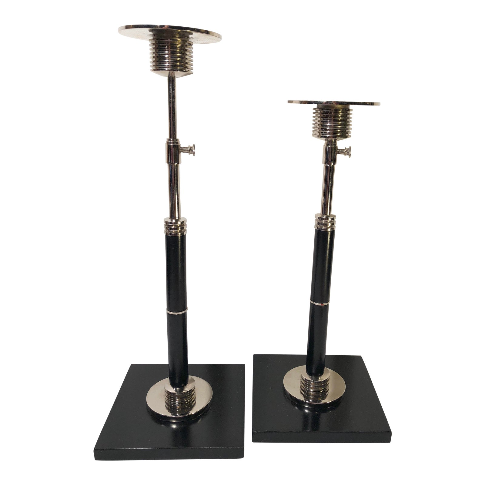 Global views silver and black candle holders a pair chairish