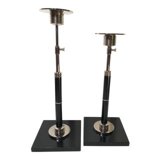 * Global Views Silver and Black Candle Holders - a Pair Adjustable Height For Sale