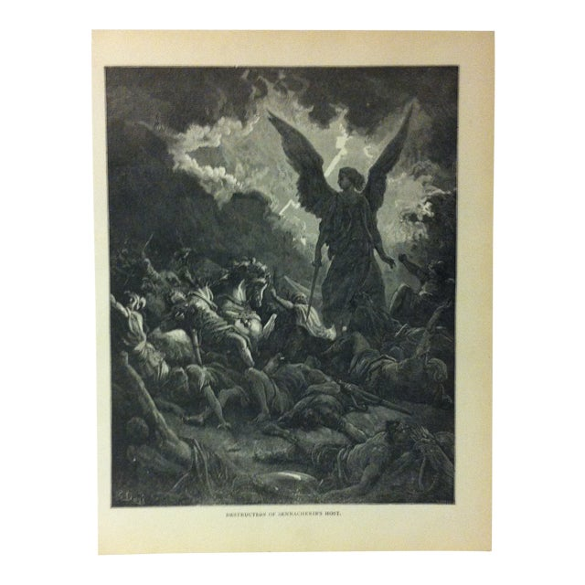 "Antique 1901 Gustave Dore Illustrated Print on Paper ""Destruction of Sennacherib's Host"" For Sale"