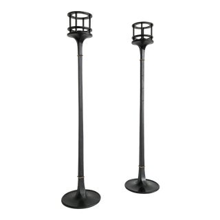 1960s Mid-Century Modern Dansk Jens Quistgaard Black Iron Candlesticks - a Pair For Sale