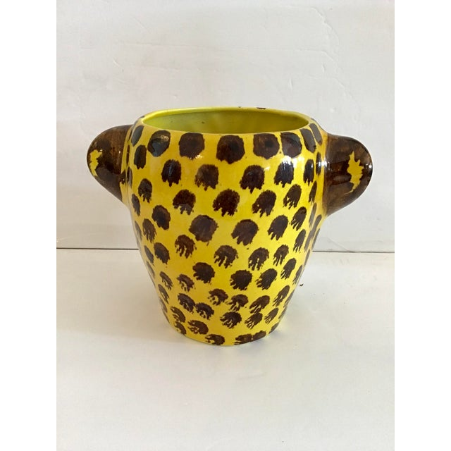 1960s Yellow and Brown Spotted Leopard Cache Pot For Sale In West Palm - Image 6 of 7