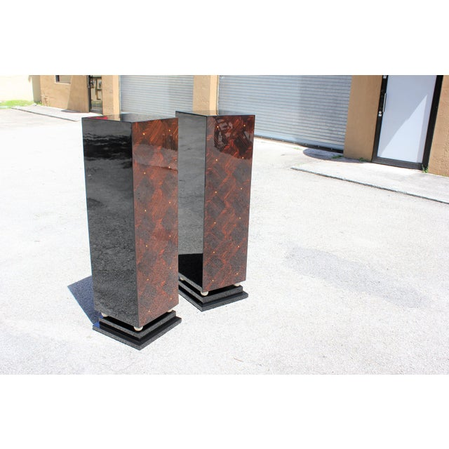 1940s 1940s French Art Deco Exotic Macassar Ebony Pedestals M-O-P Accents - a Pair For Sale - Image 5 of 13