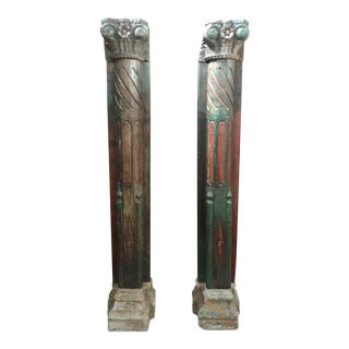 1920s Vintage Painted Carved Wall Mounted Teak Wood Columns- A Pair For Sale