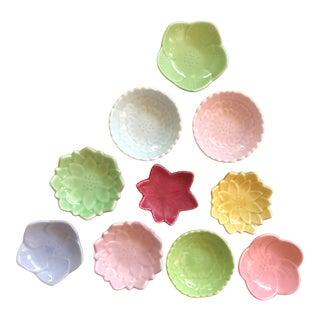 Japanese Arita Porcelain Ceramic Leaf & Petal Small Plates in Pastel Colors - Set of 10 For Sale