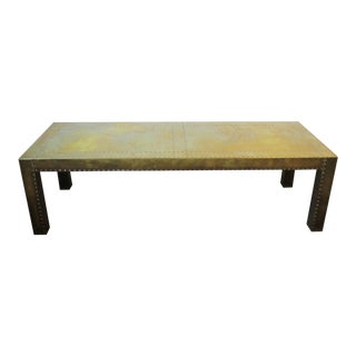 1970s Chic Brass Rectangular Coffee or Cocktail Table For Sale