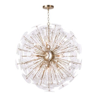 Poppy Glass Chandelier Large in Clear For Sale