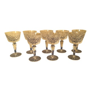 Vintage Crystal Stem Glasses - Set of 8 For Sale