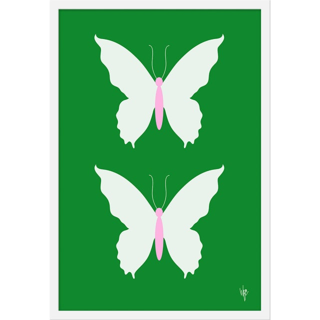 "Medium ""Butterfly White on Green"" Print by Wendy Concannon, 21"" X 31"" For Sale"