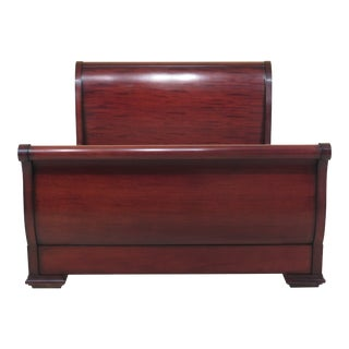 20th Century Traditional Baker Queen Size Mahogany Sleigh Bed For Sale