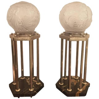 Muller Frères Signed French Art Deco Table Lamps - A Pair For Sale