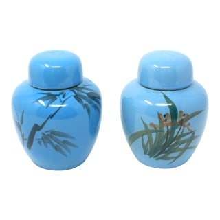 Vintage Hand Painted Turquoise Ginger Jars - a Pair - Bamboo and Lillies For Sale