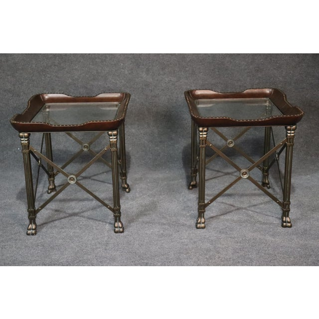 Metal Directoire Style Glass Top End Tables - a Pair For Sale - Image 7 of 10