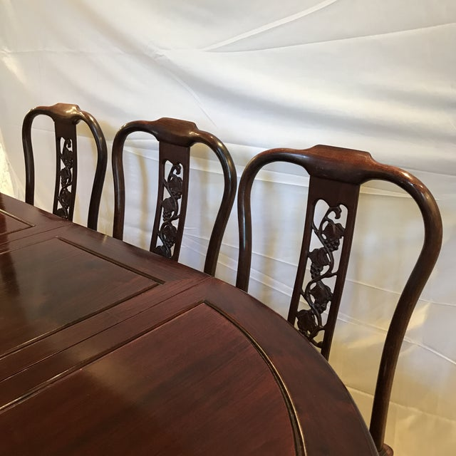 Ling Chi Rosewood Dining Table & 8 Chairs Set - Image 3 of 10