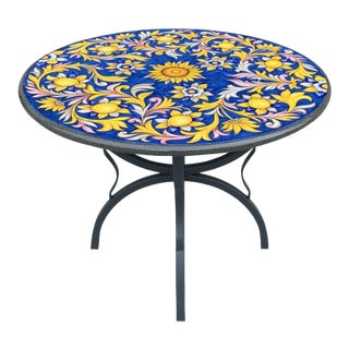 Iron Base Volcanic Stone Top Bistro Table or Dining Table. For Sale