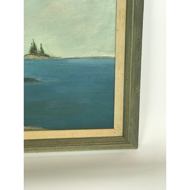 Blue 1960s Vintage Scenic Ocean Oil on Canvas Painting For Sale - Image 8 of 11