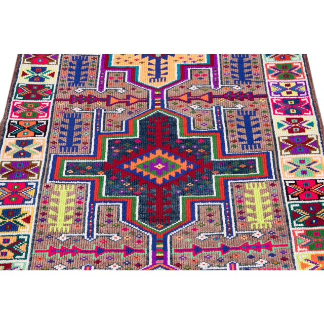 Mid-20th Century Colorful Vintage Turkish Wool Runner Rug 3 X 13 For Sale - Image 11 of 12