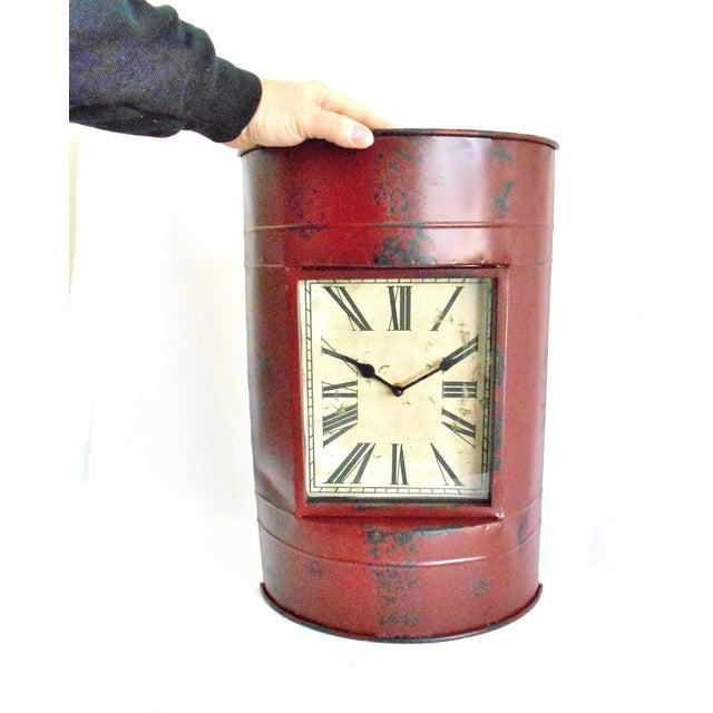 Glass Vintage Metal Barrel Clock For Sale - Image 7 of 11