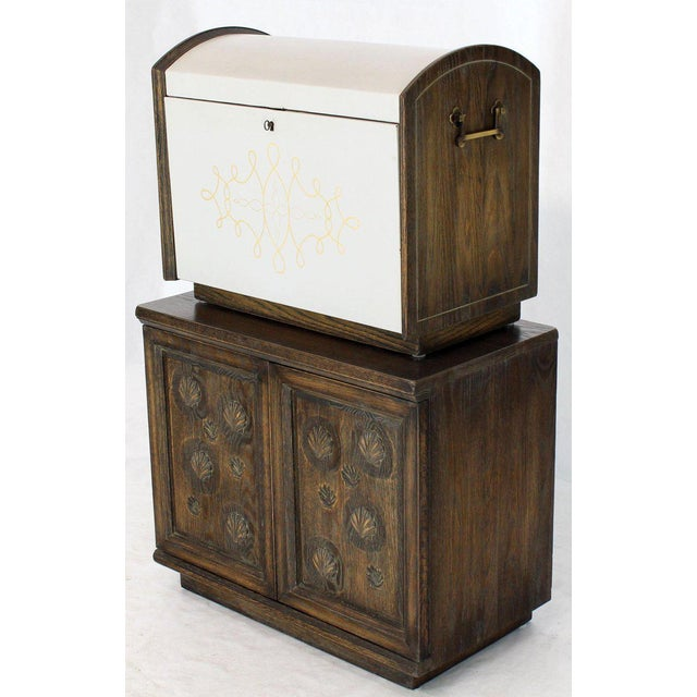 Cerused Carved Scallop Oak Leather Wrapped Campaign Portable Secretary Desk For Sale - Image 13 of 13