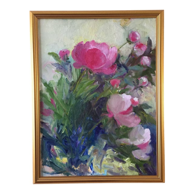 """""""Peonies"""" Contemporary Plein Air Garden Scene Oil Painting by Marina Movshina, Framed For Sale"""