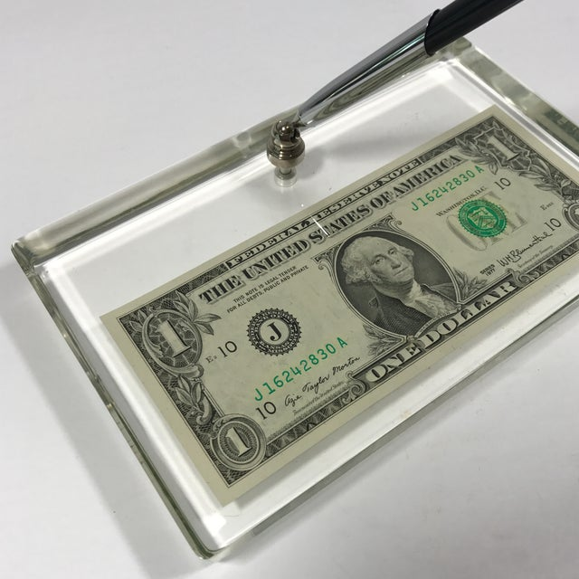 Vintage Dollar Bill Lucite Pen Holder - Image 9 of 11