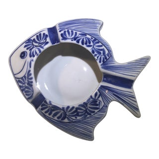 Vintage Ceramic Hand Painted Underglaze Fish Ashtray For Sale