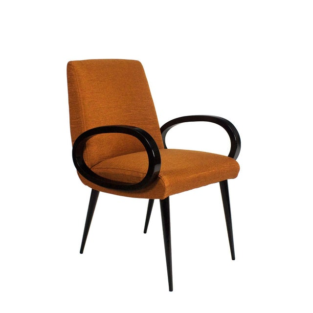 Mid-Century Modern 1950s Pair of Bridge Armchairs, Oval Arms, Stained Beech, Fibreguard, France For Sale - Image 3 of 9