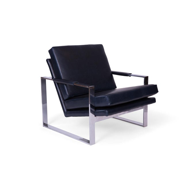 Pair of Milo Baughman for Thayer Coggin lounge chairs circa early 1970's. These examples have mirror polished chrome...