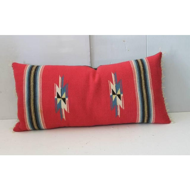 Primitive Vibrant Red Mexican Serape Bolster Pillow For Sale - Image 3 of 4