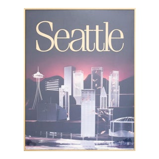 Late 20th Century Seattle Skyline Poster For Sale
