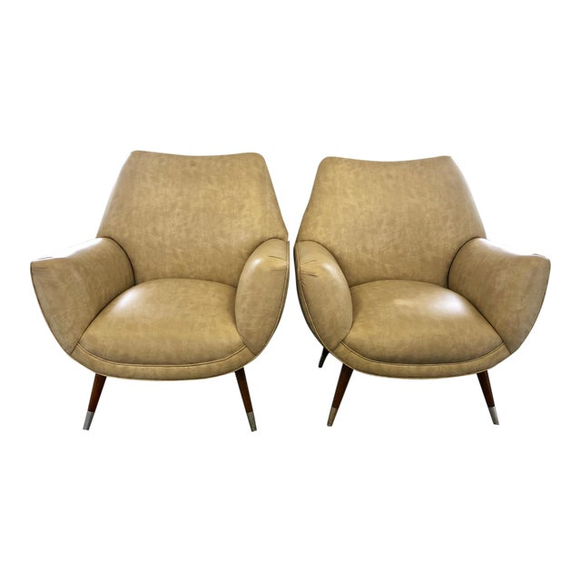 Mid-Century Club Chairs - A Pair For Sale