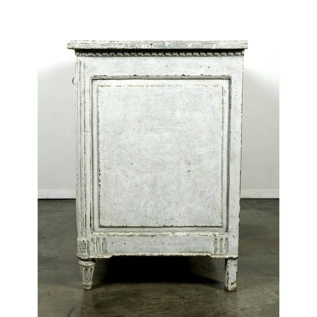 French Louis XVI Period Painted Faux Marble Top Commode Chest of Drawers For Sale - Image 10 of 10