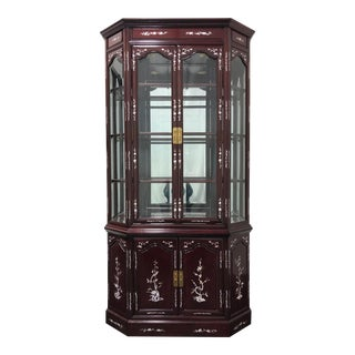 Chinese Rosewood Mother of Pearl Inlay Lighted China / Curio Cabinet For Sale