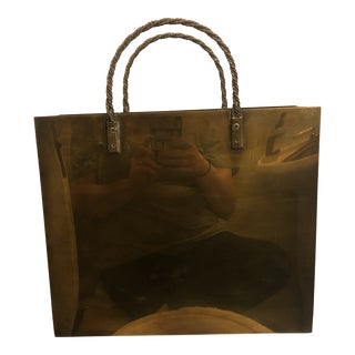 20th Century Italian Brass Shopping Bag Magazine Holder/Umbrella Stand For Sale