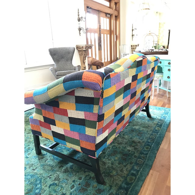 Textile Love Seat 20th Century Patchwork Fabric Camel Back Sofa Settee BoHo Chic Multi Color For Sale - Image 7 of 8