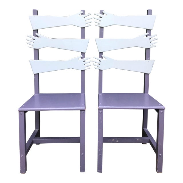 """Whimsical Post Modern Artist Made """"hand"""" Chairs -A Pair For Sale"""